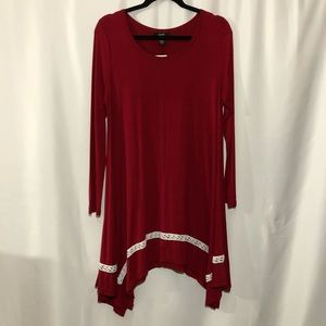 Alfani Red Handkerchief-Hem Dress